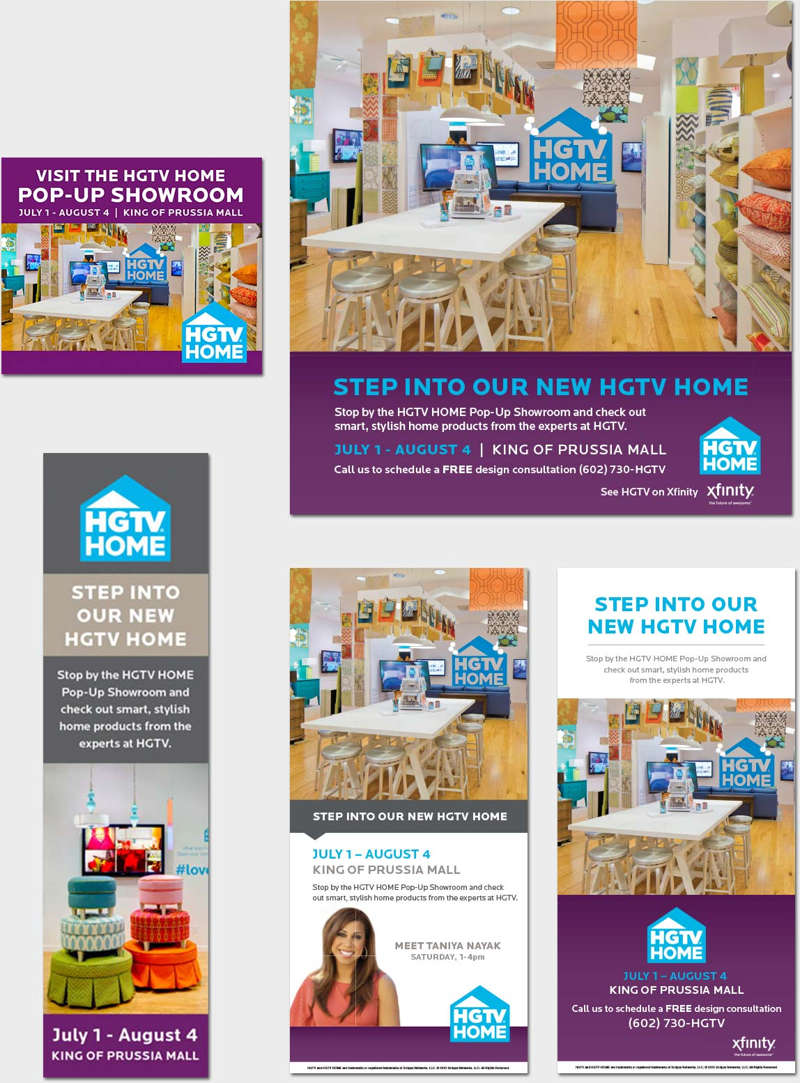 Print and banner ads for pop-up shops