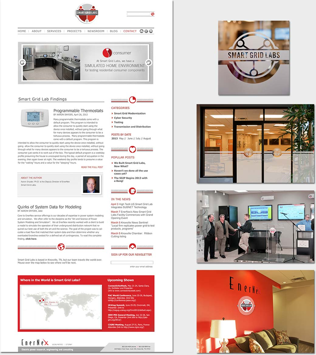 Smart Grid Lab's site, window graphics, and architectural signage